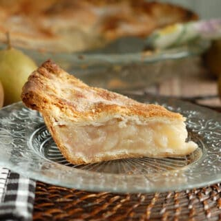 a slice of vanilla pear pie