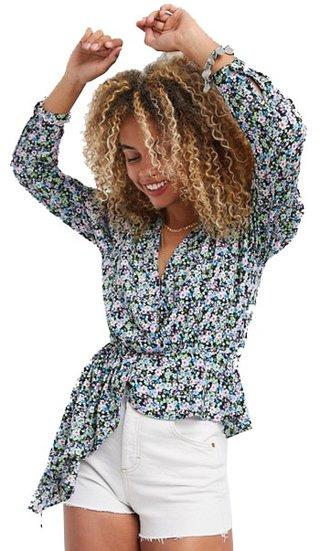 ASOS asymmetrical hem wrap detail blouse | 40plusstyle.com