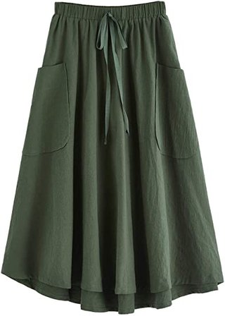 SweatyRocks high waist A-line midi skirt   40plusstyle.com