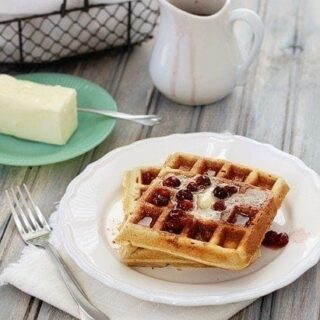 Whole Wheat Flax Waffles with Cranberry Orange Maple Syrup