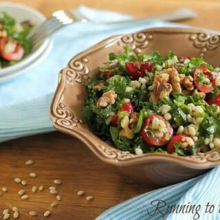 Barley kale and cherry salad