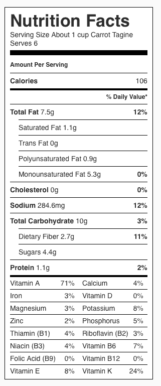 Carrot Tagine Nutrition Label. Each serving is about 1 cup.