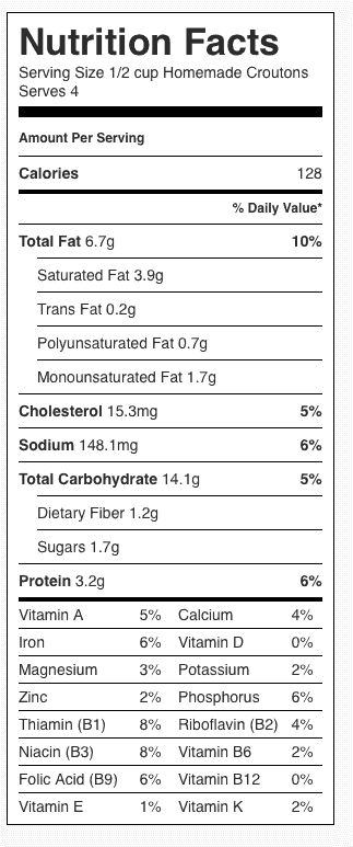 Homemade Croutons Nutrition Label. Each serving is about 1/2 cup.