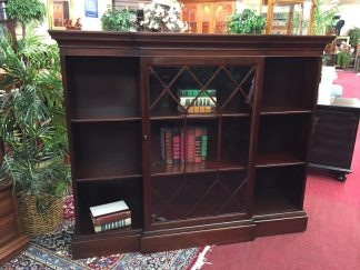 mahogany bookcase with glass door and open sides