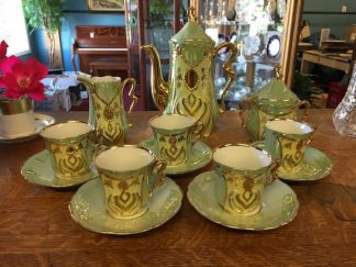 Eight Piece Mint and Gold Lusterware Tea Set