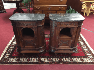Antique European Marble Top Nightstands