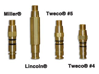 Image of semi-auto power pins. Miller Lincoln, Tweco #4 and Tweco #5