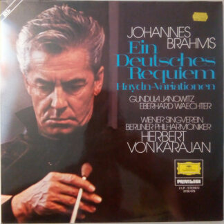 Johannes Brahms, Gundula Janowitz, Eberhard Waechter*, Wiener Singverein, Berliner Philharmoniker, Herbert von Karajan - Ein Deutsches Requiem / Haydn-Variationen (2xLP, RE)
