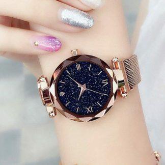 Złoty zegarek damski cyfry rzymskie