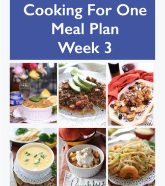 "This Cooking For One Meal Plan, Week 3 includes recipes, a grocery list and cooking tips. These meal plans are ideal for anyone cooking for one or two people and is designed for people who live on their own, a parent who wants to indulge themselves while their kids have their favorites, couples that can't agree on what they want for dinner or caregivers providing meals to a parent or friend. | One Dish Kitchen - Your ""cooking for one"" Source"