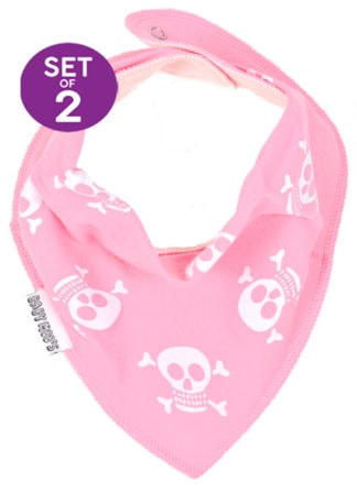 Pink Girls Bandana Bibs - Alternative Skull & Crossbones Dribble Bib