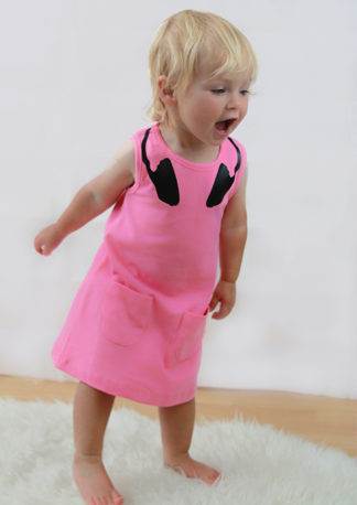 DJ trendy girls dress, pink fun girls dress with DJ headphone neck print