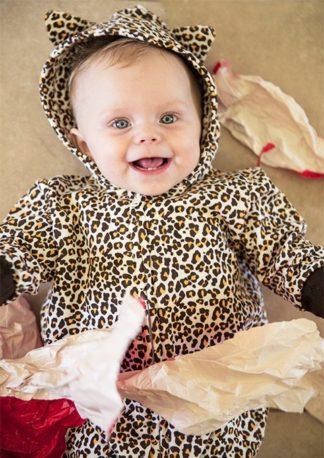 Cute Leopard Print All In One / Leopard Baby Onesie / Romper With Hood & Ears