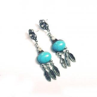 Santa Fe Turquoise Stone Feather Earrings
