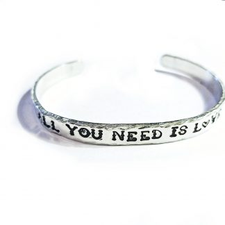All You Need is Love Hand Stamped Cuff Bracelet