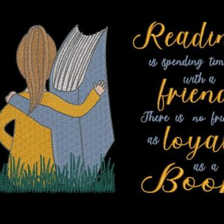 girl and book cuddling and reading quote