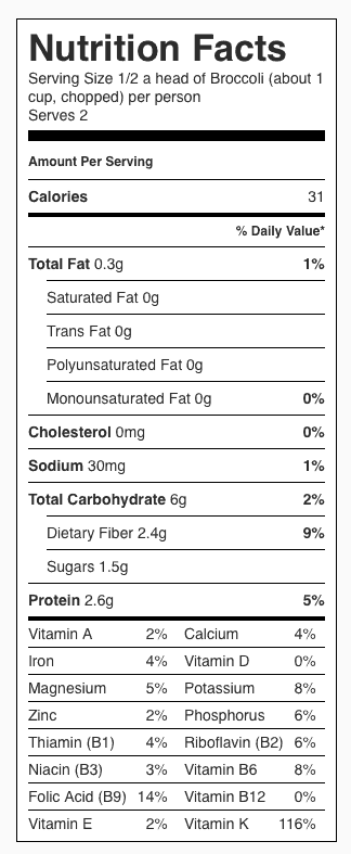 Steamed Broccoli Nutrition Label. Each serving is about 1 cup chopped broccoli