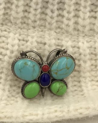 Vintage Sterling Silver Butterfly Turquoise Gemstone Cabochon Pendant Pin