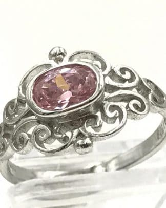 Designer Sterling Silver Oval Pink Clear Glass Stone Ring Size 8