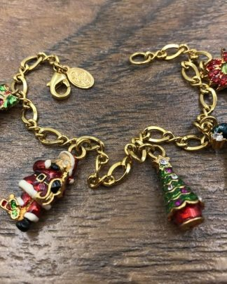 Christopher Radko Bell Charm Bracelet Christmas Gold Tone Holiday Jewelry