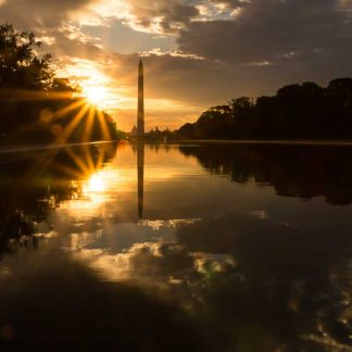 Washington Monument at Sunrise, with reflection and starburst look