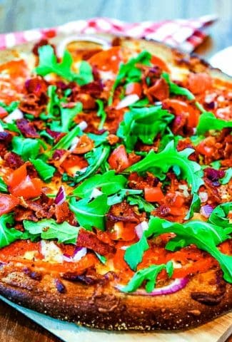 BLT Pizza on pizza board