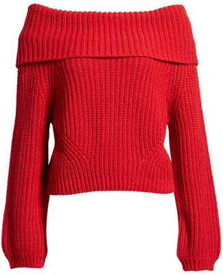 tops to hide your tummy - Lulus off the shoulder sweater | 40plusstyle.com