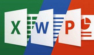 Word, Excel PowerPoint sur un écran interatif tactile