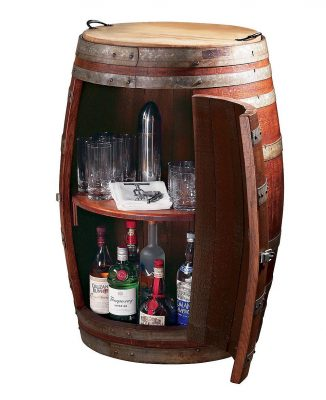 Vintage Oak Barrel Wine Cabinet