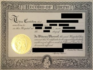 Redacted Birth Certificate