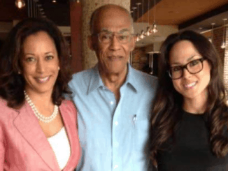 Kamala Harris with her father and sister