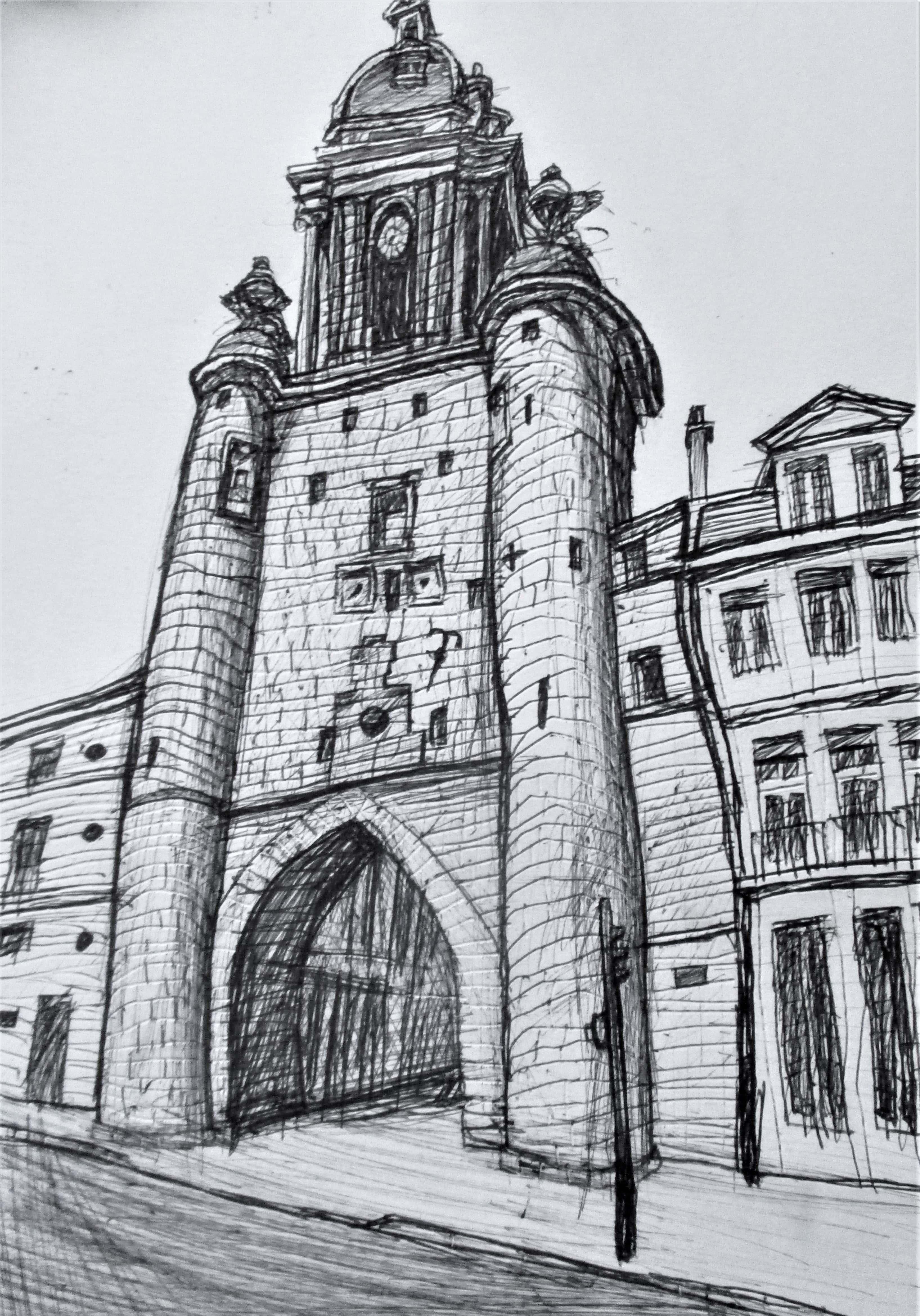 La Rochelle. Grosse Horloge. (Torre o puerta del reloj). Tinta sobre papel de 370g/m2. 30 x 21 cm. 2017.