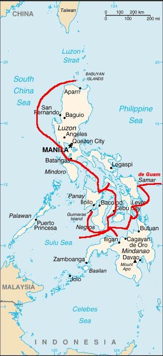 Itinerario de Legazpi en Filipinas