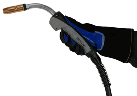 Image of a gloved hand holding a BTB MIG Gun with C series handle