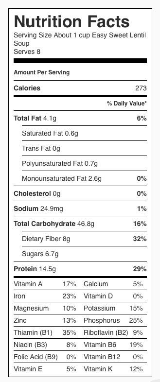 Easy Sweet Lentil Soup Nutrition Label. Each serving is about 1 cup.