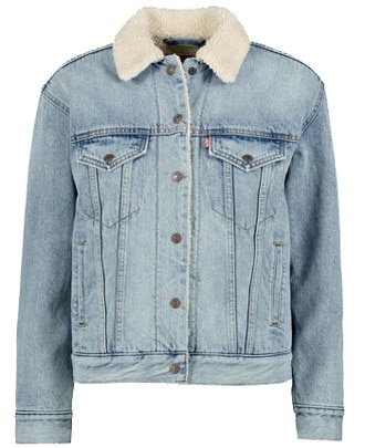 fur denim jacket | 40plusstyle.com