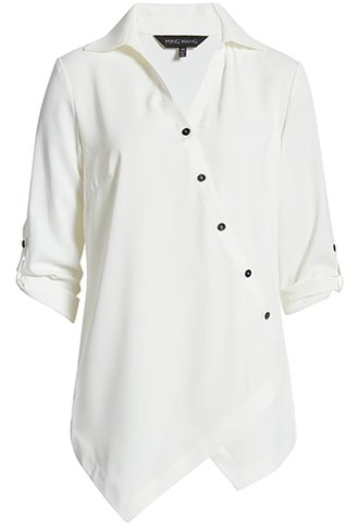 Wardrobe essentials - Ming Wang asymmetrical button front blouse | 40plusstyle.com
