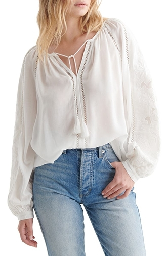 Clothes for tall women - Lucky Brand peasant blouse | 40plusstyle.com