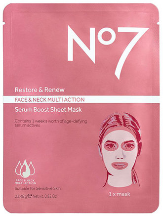 No7 Restore & Renew Multi Action Face & Neck Serum Boost Sheet Mask | 40plusstyle.com