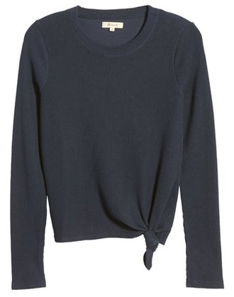Madewell front knot jacquard top | 40plusstyle.com
