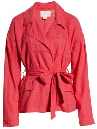 Caslon belted linen blended jacket | 40plusstyle.com