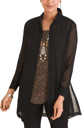 Black Friday sales - Chicos sheer tunic shirt | 40plusstyle.com