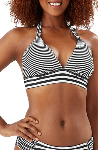 Best bathing suits for women - striped bikini | 40plusstyle.com