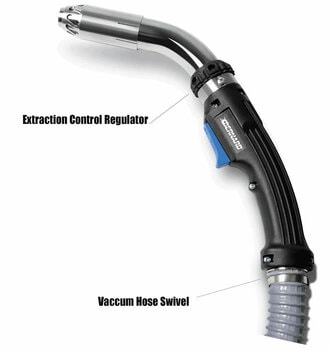 FILTAIR fume extraction MIG gun with call outs identifying extraction control regulator and vacuum hose swivel