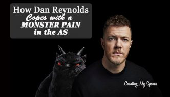 How Dan Reynolds deals with a Monster Pain in the AS (with image of Dan Reynolds and pain monster) on Counting My Spoons