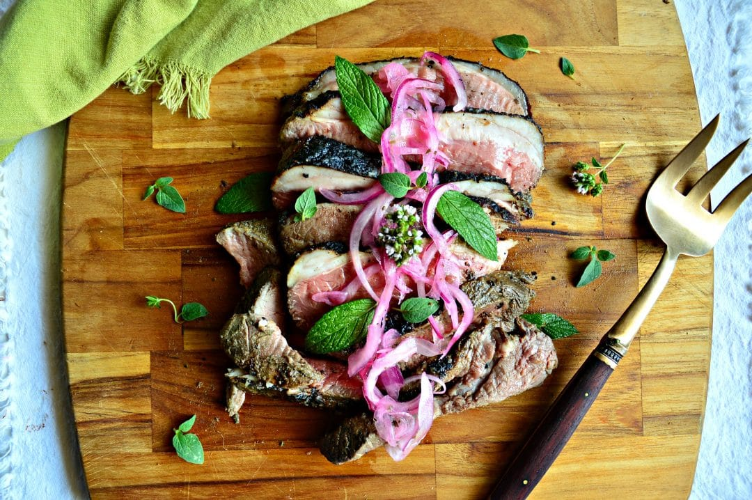 Grilled Lamb with Mint Marinade and Lemon Onions