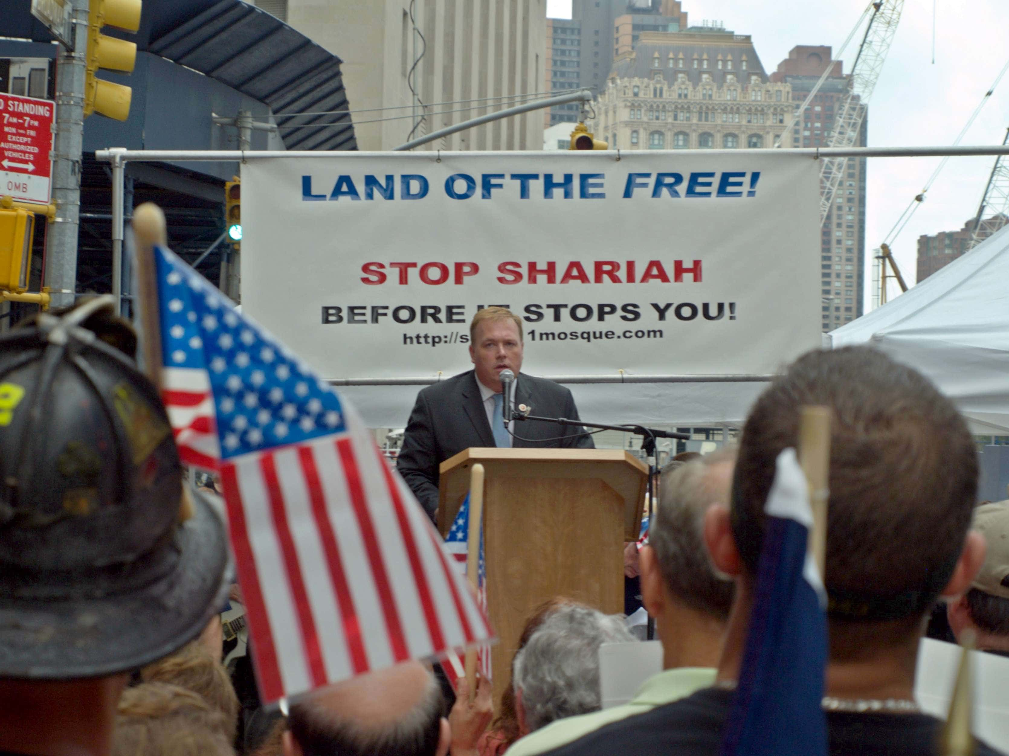 A speaker addresses a rally in lower Manhattan against the construction of the so-called Ground Zero mosque on August 22, 2010. (Photo Credit: David Shankbone via Flickr)