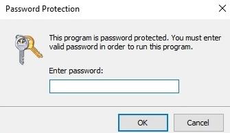 Passordbeskytte programvare