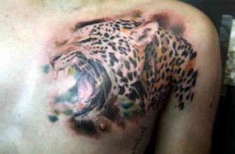 Ягуар тату на груди