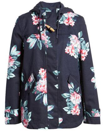 best raincoats for women - Joules floral waterproof jacket | 40plusstyle.com